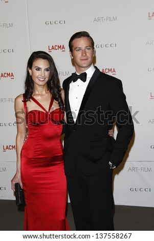 LOS ANGELES - NOV 5: Armie Hammer and wife at the LACMA Art + Film Gala on November 5, 2011 in Los Angeles, California