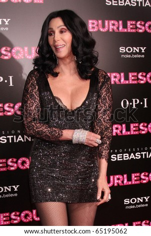 """LOS ANGELES - NOV 15:  Cher arrives at the """"Burlesque&quo t; LA Premiere  at Grauman's Chinese Theater on November 15, 2010 in Los Angeles, CA - stock photo"""