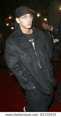 LOS ANGELES - NOV 6: Eminem at the premiere of '8 Mile' at the Mann Village Theater on November 6, 2002 in Los Angeles, California