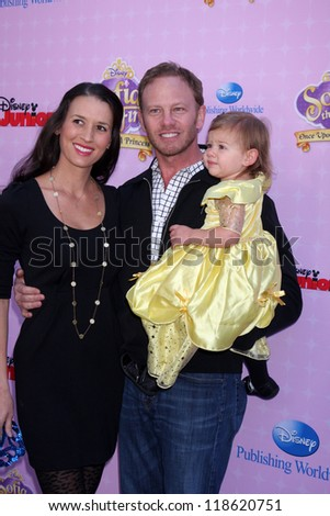 "LOS ANGELES - NOV 10:  Erin Ludwig, Mia Loren Ziering, Ian Ziering arrive at the ""Sofia The First: Once Upon a Princess"" Premiere at Walt Disney Studios on November 10, 2012 in Burbank, CA"