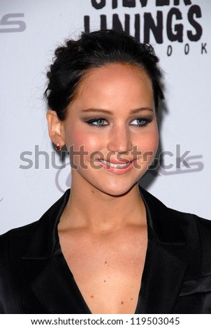 LOS ANGELES - NOV 19:  Jennifer Lawrence arrives to the 'Silver Linings Playbook' LA Premiere at Academy of Motion Picture Arts and Sciences on November 19, 2012 in Beverly Hills, CA - stock photo