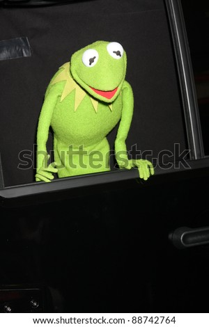 """LOS ANGELES - NOV 12:  Kermit The Frog arrives at the """"Muppets"""" World Premiere at El Capitan Theater on November 12, 2011 in Los Angeles, CA"""