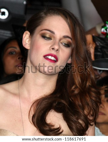 "LOS ANGELES - NOV 12:  Kristen Stewart arrives to the 'The Twilight Saga: Breaking Dawn - Part 2"" Premiere at Nokia Theater on November 12, 2012 in Los Angeles, CA"