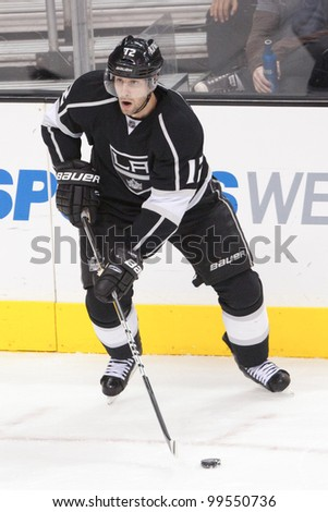 LOS ANGELES - NOV 28: Los Angeles Kings LW Simon Gagne #12 during the National Hockey League game on Nov 28 2011 at Staples Center in Los Angeles. - stock photo