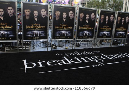 LOS ANGELES - NOV 12: Posters at the premiere of 'The Twilight Saga: Breaking Dawn - Part 2' at Nokia Theater L.A. Live on November 12, 2012 in Los Angeles, California