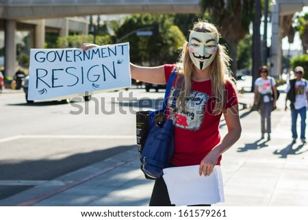 LOS ANGELES - NOV 02: Protester rallied in the streets against corruption on November 02, 2013 in Los Angeles, California