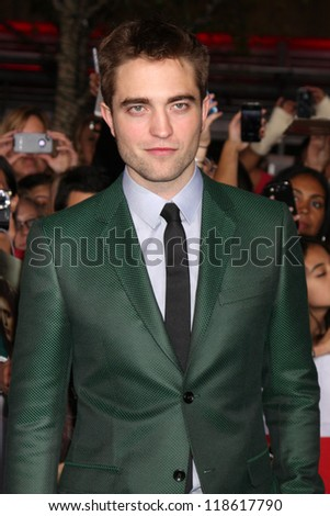 "LOS ANGELES - NOV 12:  Robert Pattinson arrive to the 'The Twilight Saga: Breaking Dawn - Part 2"" Premiere at Nokia Theater on November 12, 2012 in Los Angeles, CA"