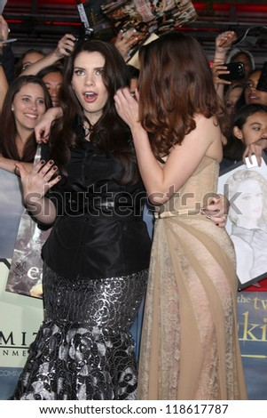 "LOS ANGELES - NOV 12:  Stephenie Meyer, Kristen Stewart arrive to the 'The Twilight Saga: Breaking Dawn - Part 2"" Premiere at Nokia Theater on November 12, 2012 in Los Angeles, CA"