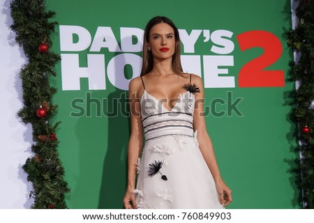 LOS ANGELES, NOV 5TH, 2017: Brazilian supermodel Alessandra Ambrosio on the red carpet at the Daddy's Home 2 premiere at the Village Theatre in Westwood, Los Angeles, California.