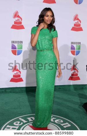 LOS ANGELES - NOV 10:  Zoe Saldana arrives at the 12th Annual Latin GRAMMY Awards at Mandalay Bay on November 10, 2011 in Las Vegas, NV