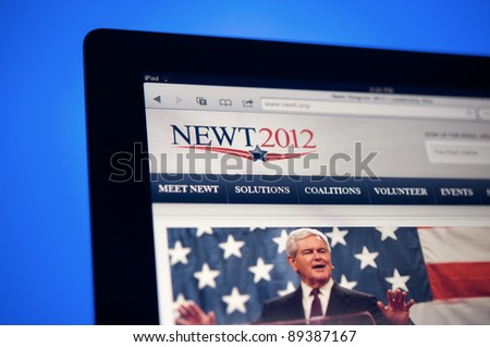 LOS ANGELES - NOVEMBER 22: Homepage of Newt Gingrich, Republican candidate for president of the United Sates in 2012 on November 22, 2011 in Los Angeles California. - stock photo