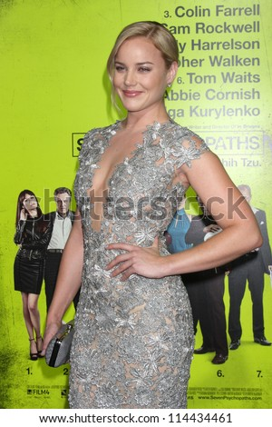 """LOS ANGELES - OCT 30:  Abbie Cornish  at the """"Seven Psychopaths"""" Premiere at Bruin Theater on October 30, 2012 in Westwood, CA - stock photo"""