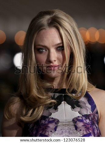 "LOS ANGELES - OCT 20:  Amanda Seyfried arriving to ""In Time"" Los Angeles Premiere  on October 20, 2011 in Westwood, CA"