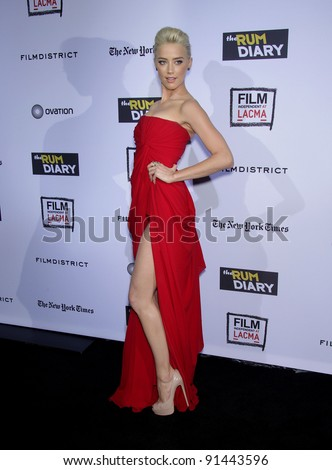 """LOS ANGELES - OCT 13:  Amber Heard arrives to the """"Rum Diary"""" World Premiere  on October 13, 2011 in Los Angeles, CA"""