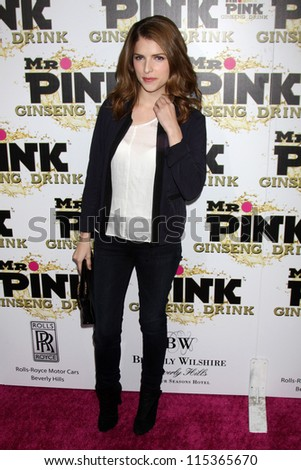 "LOS ANGELES - OCT 11:  Anna Kendrick arrives at the ""Mr. Pink"" Energy Drink Launch at Beverly Wilshire Hotel on October 11, 2012 in Beverly Hills, CA"