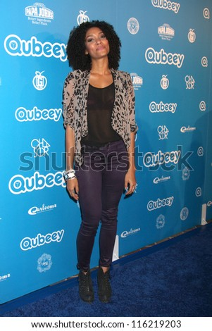 LOS ANGELES - OCT 20:  Annie Ilonzeh arrives at  the Qubeeys Chris Brown Channel Launch Event at Private Residence on October 20, 2012 in Beverly Hills, CA