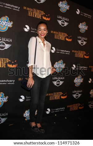 LOS ANGELES - OCT 7:  Ashley Madekwe arrives at the 4th Annual Los Angeles Haunted Hayride VIP Premiere Night at Griffith Park on October 7, 2012 in Los Angeles, CA - stock photo