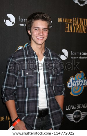 LOS ANGELES - OCT 7:  Billy Unger arrives at the 4th Annual Los Angeles Haunted Hayride VIP Premiere Night at Griffith Park on October 7, 2012 in Los Angeles, CA - stock photo
