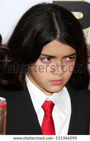 "LOS ANGELES - OCT 11:  Blanket Jackson arrives at the ""Mr. Pink"" Energy Drink Launch at Beverly Wilshire Hotel on October 11, 2012 in Beverly Hills, CA"