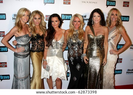 "LOS ANGELES - OCT 11:  C Grammer, A Maloof, Kyle Richards, Kim RIchards, L Vanderpump, T Armstrong arrive at the ""Real Housewives of Beverly Hlls"" Party at Trousdale on Oct 11, 2010 in W Hollywood, CA - stock photo"