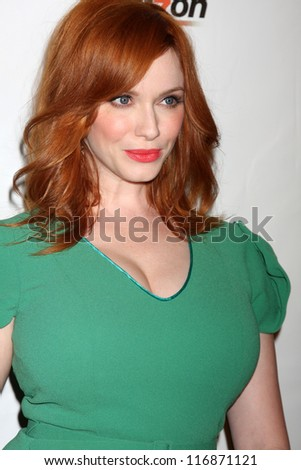 LOS ANGELES - OCT 26:  Christina Hendricks arrives at the 41st Annual Peace Over Violence Humanitarian Awards at Beverly Hills Hotel on October 26, 2012 in Beverly Hills, CA