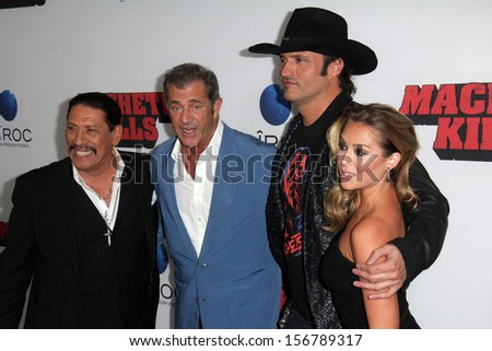 "LOS ANGELES - OCT 2:  Danny Trejo, Mel Gibson, Robert Rodriguez, Alexa Vega at the ""Machete Kills"" Los Angeles Premiere at Regal 14 Theaters on October 2, 2013 in Los Angeles, CA"