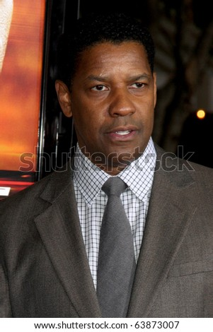 "LOS ANGELES - OCT 26:  Denzel Washington arrives at the ""Unstoppable"" Premiere at Regency Village Theater on October 26, 2010 in Westwood, CA - stock photo"