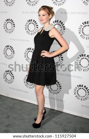 """LOS ANGELES - OCT 16:  Dreama Walker arrives at  An Evening With """"Happy Endings"""" And """"Don't Trust The B---- In Apartment 23"""" at Paley Center For Media on October 16, 2012 in Beverly Hills, CA"""