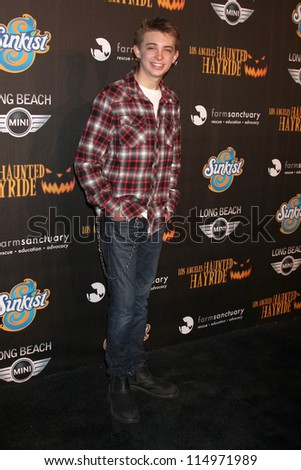 LOS ANGELES - OCT 7:  Dylan Riley Snyder arrives at the 4th Annual Los Angeles Haunted Hayride VIP Premiere Night at Griffith Park on October 7, 2012 in Los Angeles, CA - stock photo