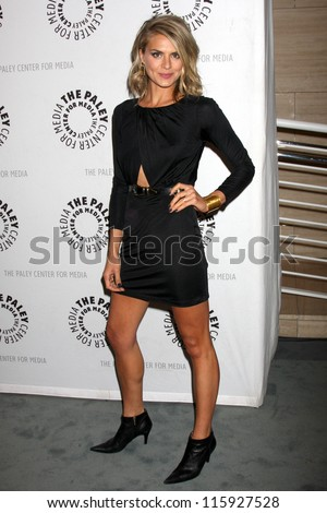 """LOS ANGELES - OCT 16:  Eliza Coupe arrives at  An Evening With """"Happy Endings"""" And """"Don't Trust The B---- In Apartment 23"""" at Paley Center For Media on October 16, 2012 in Beverly Hills, CA - stock photo"""