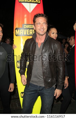 LOS ANGELES - OCT 18: Gerard Butler at the 'Chasing Mavericks' - Los Angeles Premiere at Pacific Theaters at the Grove on October 18, 2012 in Los Angeles, California