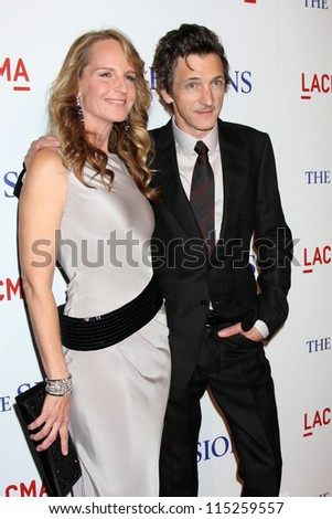 "LOS ANGELES - OCT 10:  Helen Hunt, John Hawkes arrives at the ""The Sessions"" Los Angeles Premiere at Bing Theater at Los Angeles Museum of Art on October 10, 2012 in Los Angeles, CA - stock photo"