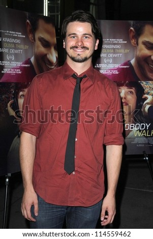 "LOS ANGELES - OCT 2:  Jason Ritter arrives at the ""Nobody Walks"" - Los Angeles Premiere at ArcLight Hollywood on October 2, 2012 in Los Angeles, CA"