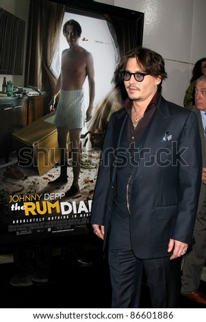 "LOS ANGELES - OCT 13:  Johnny Depp arriving at the World Premiere of ""The Rum Diary"" at the LACMA on October 13, 2011 in Los Angeles, CA"