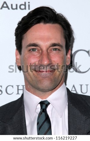 "LOS ANGELES - OCT 20:  Jon Hamm arrives at  the ""Reel Stories, Real Lives"" Event at Milk Studios on October 20, 2012 in Los Angeles, CA - stock photo"