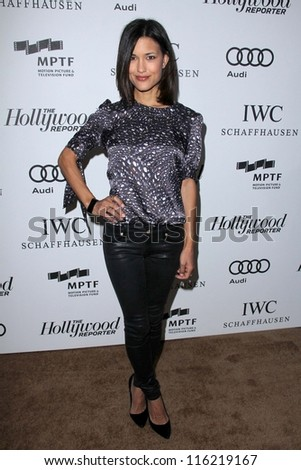 """LOS ANGELES - OCT 20:  Julia Jones arrives at  the """"Reel Stories, Real Lives"""" Event at Milk Studios on October 20, 2012 in Los Angeles, CA - stock photo"""