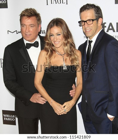 LOS ANGELES - OCT 11: Kevin Huvane, Sarah Jessica Parker, Kenneth Cole at amfAR's Inspiration Gala at Milk Studios on October 11, 2012 in Los Angeles, California.