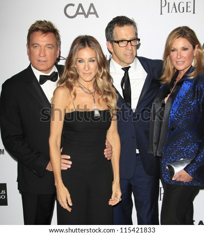 LOS ANGELES - OCT 11: Kevin Huvane, Sarah Jessica Parker, Kenneth Cole, Maria Cuomo Cole at amfAR's Inspiration Gala at Milk Studios on October 11, 2012 in Los Angeles, California.