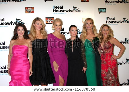 "LOS ANGELES - OCT 21: L Vanderpump, B Glanville, Y Foster, K Richards, T Armstrong, A Maloof arrive at ""The Real Housewives of Beverly Hills"" event at Roosevelt Hotel on Oct 21, 2012 in Los Angeles,CA"