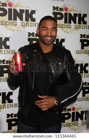 """LOS ANGELES - OCT 11:  Matt Kemp arrives at the """"Mr. Pink"""" Energy Drink Launch at Beverly Wilshire Hotel on October 11, 2012 in Beverly Hills, CA - stock photo"""