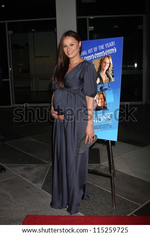 "LOS ANGELES - OCT 10:  Moon Bloodgood arrives at the ""The Sessions"" Los Angeles Premiere at Bing Theater at Los Angeles Museum of Art on October 10, 2012 in Los Angeles, CA - stock photo"
