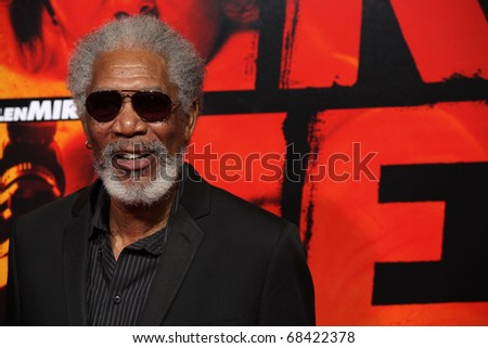 """LOS ANGELES - OCT 11: Morgan Freeman arrives to the """"RED"""" Los Angeles Screening at Mann Chinese Theatre on October 11, 2010 in Hollywood, CA - stock photo"""