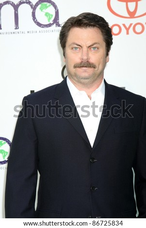 LOS ANGELES - OCT 15:  Nick Offerman arriving at the 2011 Environmental Media Awards at the Warner Brothers Studio on October 15, 2011 in Beverly Hills, CA