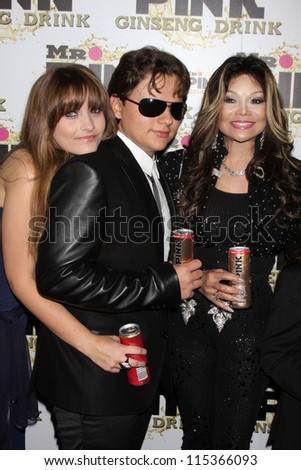 """LOS ANGELES - OCT 11:  Paris Jackson, Prince Michael Jackson, LaToya Jackson arrives at the """"Mr. Pink"""" Energy Drink Launch at Beverly Wilshire Hotel on October 11, 2012 in Beverly Hills, CA"""