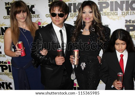 "LOS ANGELES - OCT 11:  Paris Jackson, Prince Michael Jackson, LaToya Jackson, Blanket Jackson arrives at the ""Mr. Pink""  Launch at Beverly Wilshire Hotel on October 11, 2012 in Beverly Hills, CA"