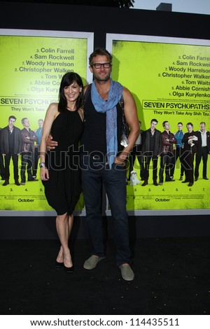 "LOS ANGELES - OCT 30:  Perrey Reeves, Johann Urb  at the ""Seven Psychopaths"" Premiere at Bruin Theater on October 30, 2012 in Westwood, CA - stock photo"