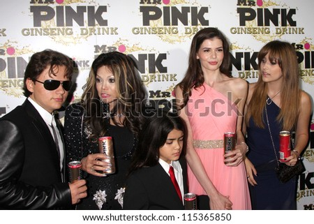 "LOS ANGELES - OCT 11:  Prince Michael , LaToya,  and Blanket Jackson, Monica Gabor, Paris Jackson arrive at the ""Mr. Pink"" Launch at Beverly Wilshire Hotel on October 11, 2012 in Beverly Hills, CA"