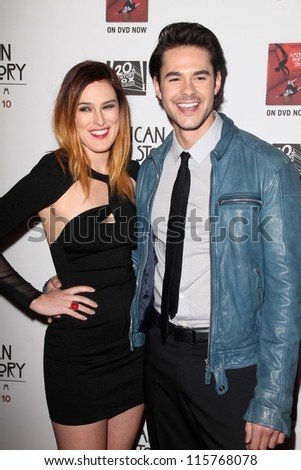 "LOS ANGELES - OCT 13:  Rumer Willis, Jayson Blair arrives at the ""American Horror Story: Asylum"" Premiere Screening at Paramount Theater on October 13, 2012 in Los Angeles, CA - stock photo"