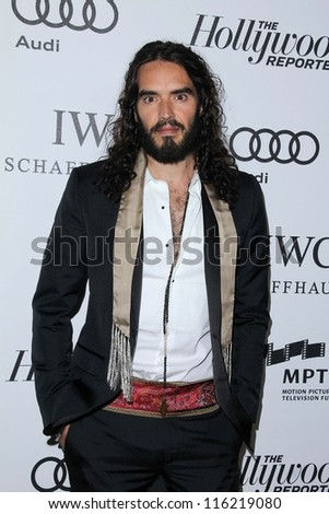 """LOS ANGELES - OCT 20:  Russell Brand arrives at  the """"Reel Stories, Real Lives"""" Event at Milk Studios on October 20, 2012 in Los Angeles, CA"""