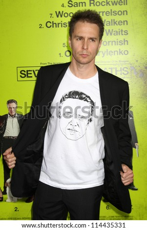 """LOS ANGELES - OCT 30:  Sam Rockwell  at the """"Seven Psychopaths"""" Premiere at Bruin Theater on October 30, 2012 in Westwood, CA"""